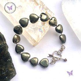 Pyrite Hearts Healing Bracelet